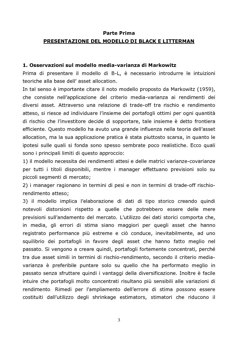 Anteprima della tesi: Il modello di Black-Litterman; un'applicazione empirica, Pagina 1