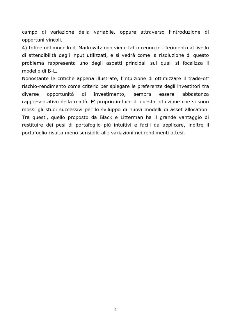 Anteprima della tesi: Il modello di Black-Litterman; un'applicazione empirica, Pagina 2