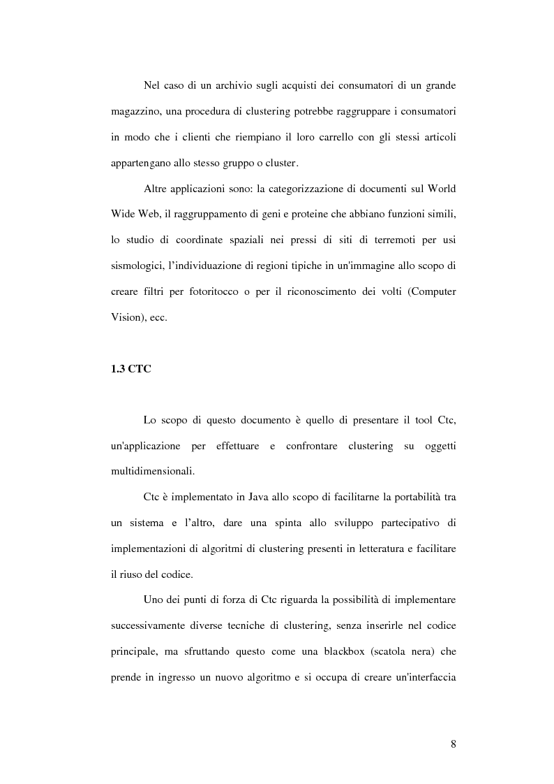 Anteprima della tesi: Un ambiente Java per l'analisi di algoritmi di clustering, Pagina 4