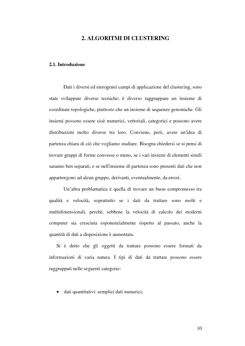 Anteprima della tesi: Un ambiente Java per l'analisi di algoritmi di clustering, Pagina 6