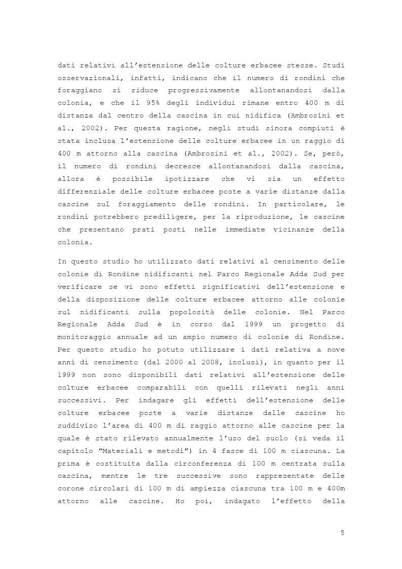 Anteprima della tesi: Effetto della distribuzione delle colture erbacee nell'intorno dei siti di nidificazione della rondine, Hirundo rustica, Pagina 3