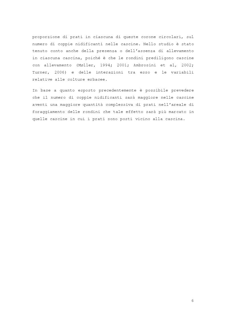 Anteprima della tesi: Effetto della distribuzione delle colture erbacee nell'intorno dei siti di nidificazione della rondine, Hirundo rustica, Pagina 4