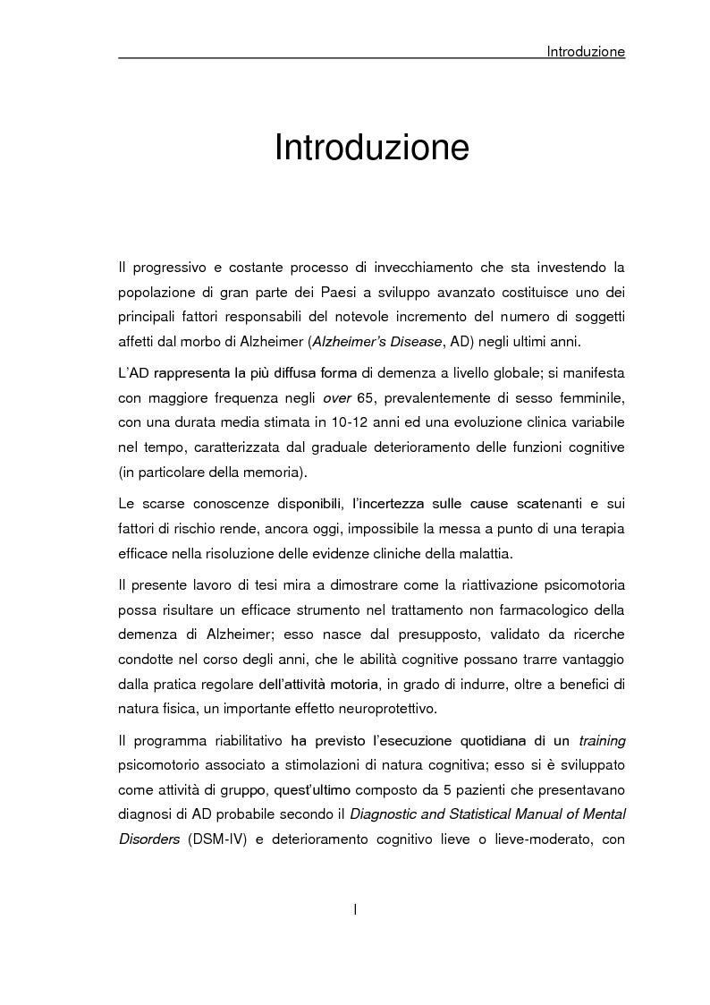 Anteprima della tesi: Trattamento non farmacologico nella demenza di Alzheimer: riattivazione psicomotoria e cognitiva, Pagina 1