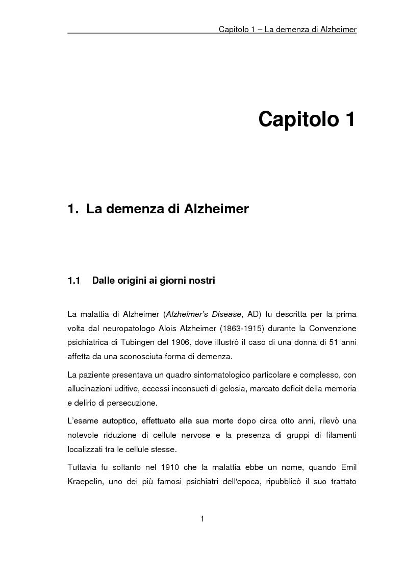 Anteprima della tesi: Trattamento non farmacologico nella demenza di Alzheimer: riattivazione psicomotoria e cognitiva, Pagina 4