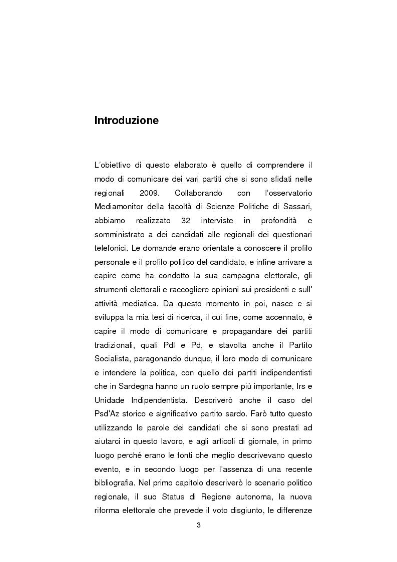 Anteprima della tesi: Regionali in Sardegna 2009: il diverso modo di propagandare dei vari partiti, Pagina 1