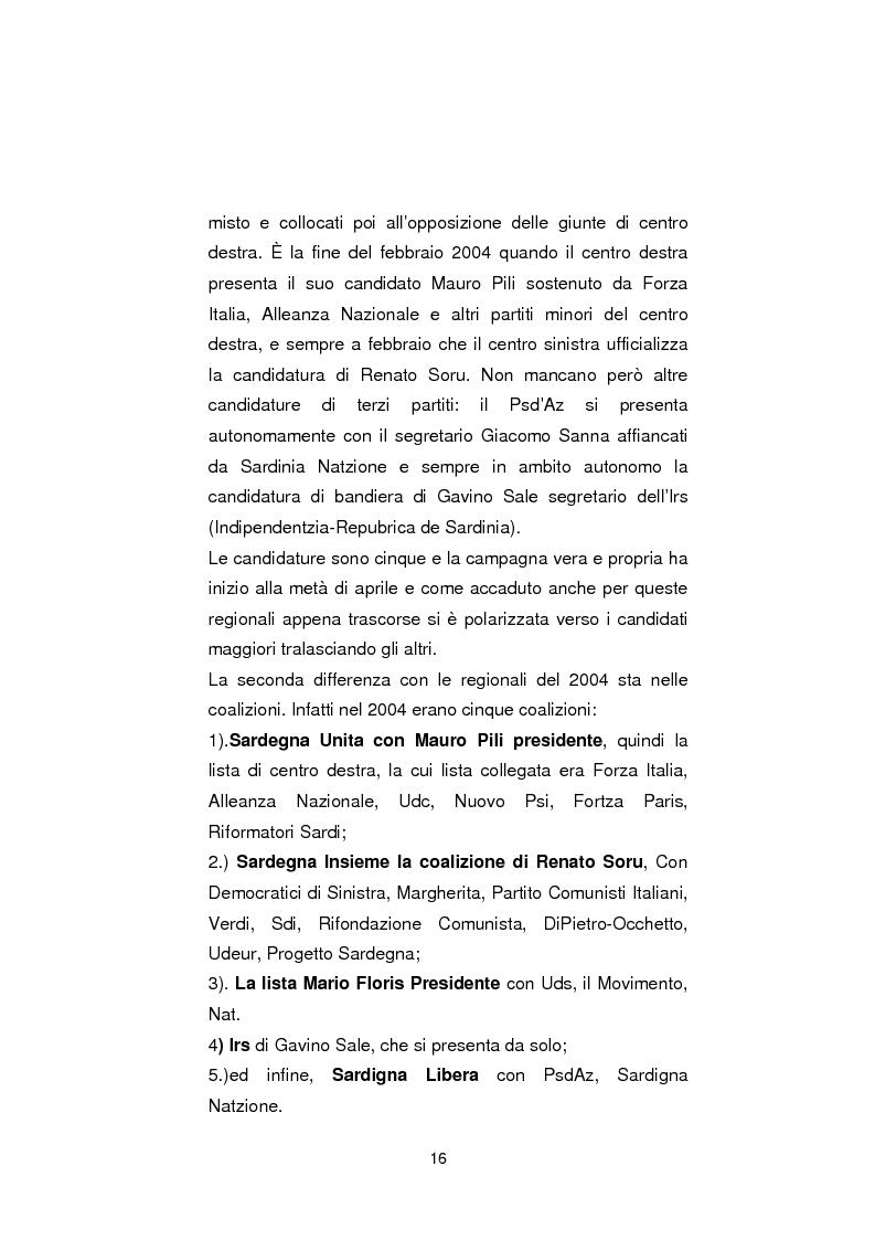Anteprima della tesi: Regionali in Sardegna 2009: il diverso modo di propagandare dei vari partiti, Pagina 14