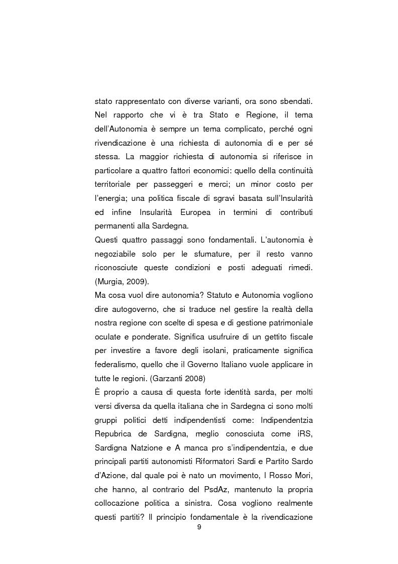 Anteprima della tesi: Regionali in Sardegna 2009: il diverso modo di propagandare dei vari partiti, Pagina 7