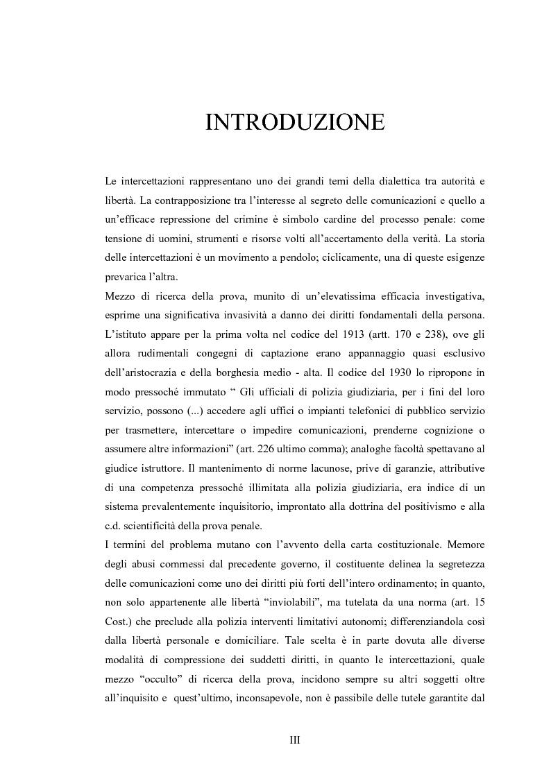 Anteprima della tesi: Le intercettazioni: prospettive di riforma 2009, Pagina 1