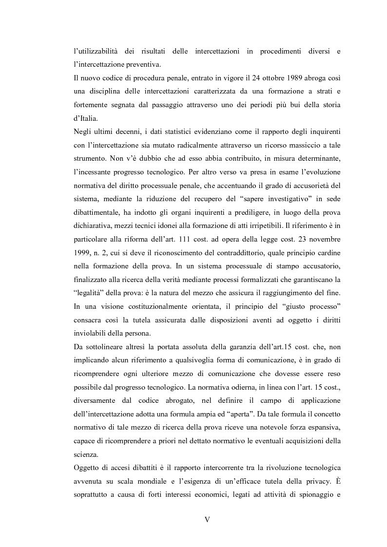 Anteprima della tesi: Le intercettazioni: prospettive di riforma 2009, Pagina 3