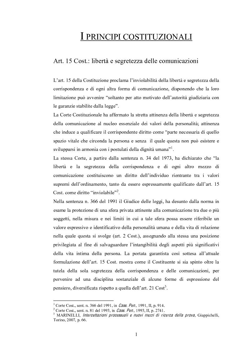 Anteprima della tesi: Le intercettazioni: prospettive di riforma 2009, Pagina 5