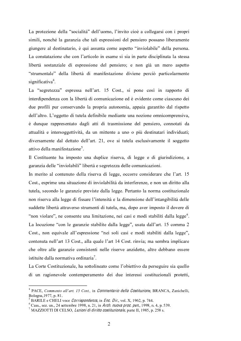 Anteprima della tesi: Le intercettazioni: prospettive di riforma 2009, Pagina 6