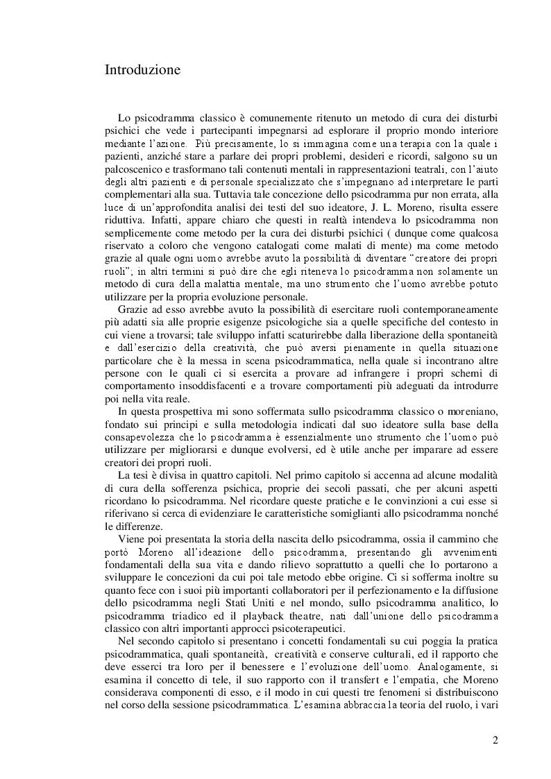 Anteprima della tesi: Lo psicodramma classico: esercizio di creatività e di incontro con l'altro per la crescita personale, Pagina 2