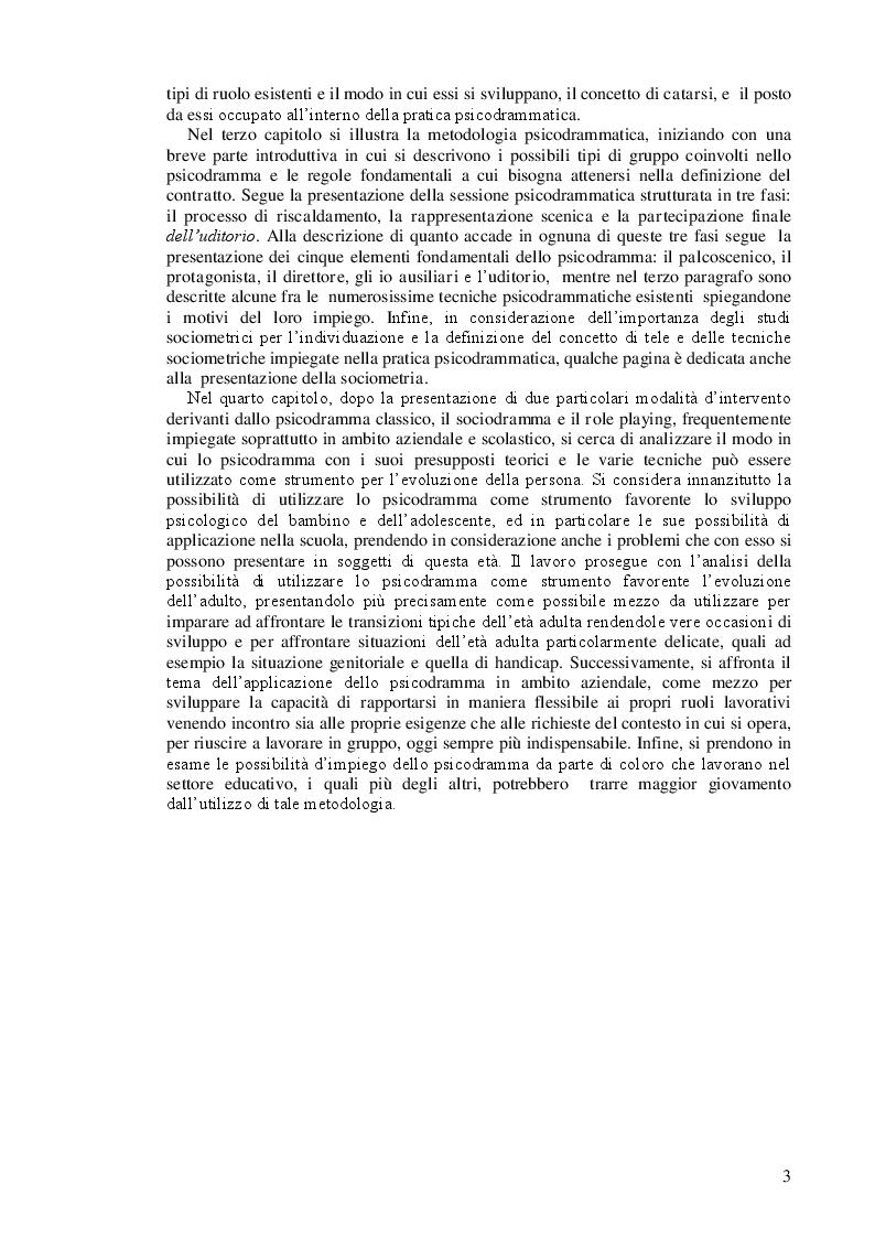 Anteprima della tesi: Lo psicodramma classico: esercizio di creatività e di incontro con l'altro per la crescita personale, Pagina 3