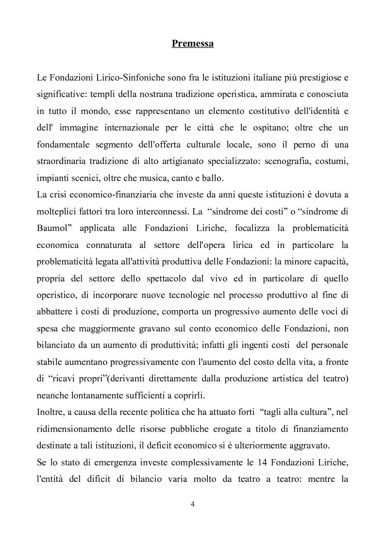 Anteprima della tesi: La crisi delle Fondazioni Lirico-Sinfoniche in Italia negli anni 2000, Pagina 1