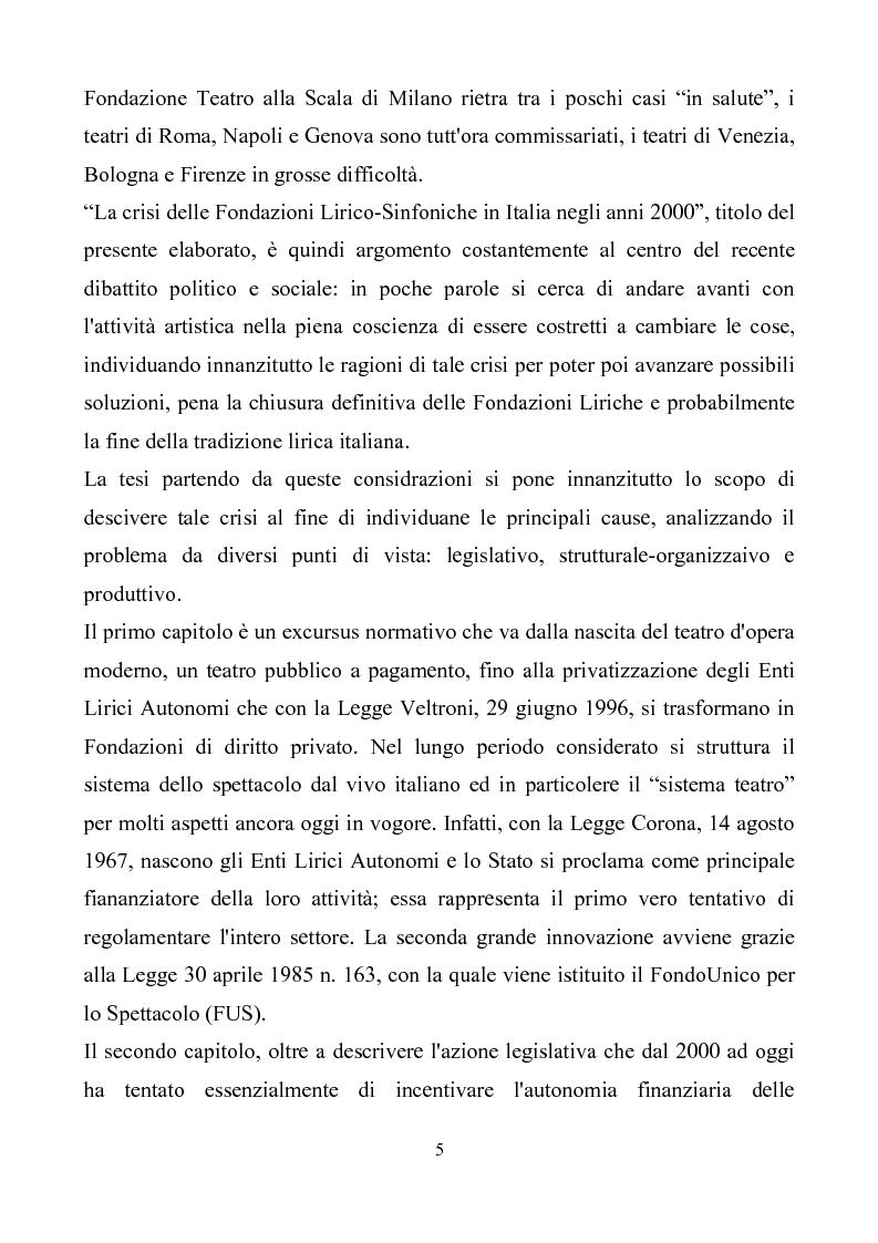 Anteprima della tesi: La crisi delle Fondazioni Lirico-Sinfoniche in Italia negli anni 2000, Pagina 2