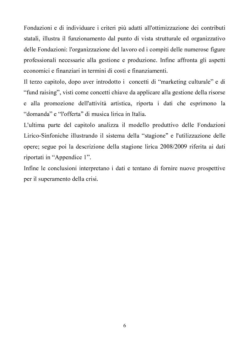 Anteprima della tesi: La crisi delle Fondazioni Lirico-Sinfoniche in Italia negli anni 2000, Pagina 3
