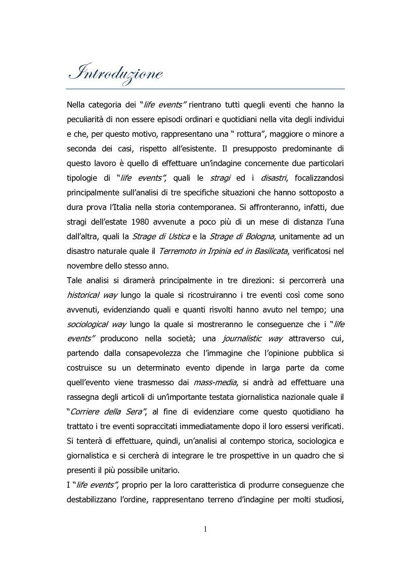 Anteprima della tesi: Analisi storico-sociologica-giornalistica delle stragi e dei disastri (i casi italiani del 1980: Ustica, Bologna, Irpinia), Pagina 1