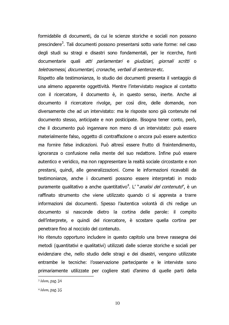 Anteprima della tesi: Analisi storico-sociologica-giornalistica delle stragi e dei disastri (i casi italiani del 1980: Ustica, Bologna, Irpinia), Pagina 10