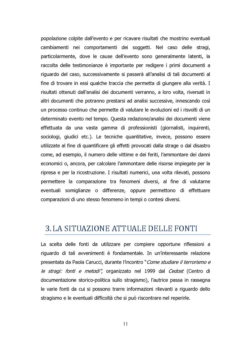 Anteprima della tesi: Analisi storico-sociologica-giornalistica delle stragi e dei disastri (i casi italiani del 1980: Ustica, Bologna, Irpinia), Pagina 11