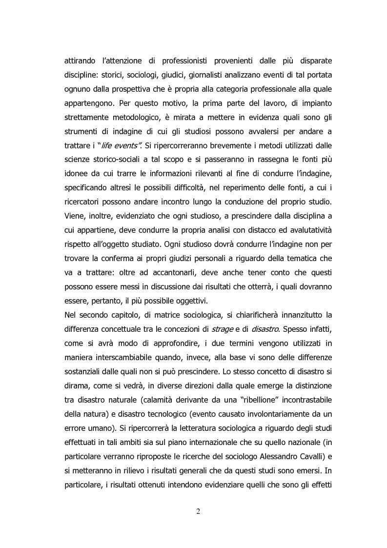 Anteprima della tesi: Analisi storico-sociologica-giornalistica delle stragi e dei disastri (i casi italiani del 1980: Ustica, Bologna, Irpinia), Pagina 2