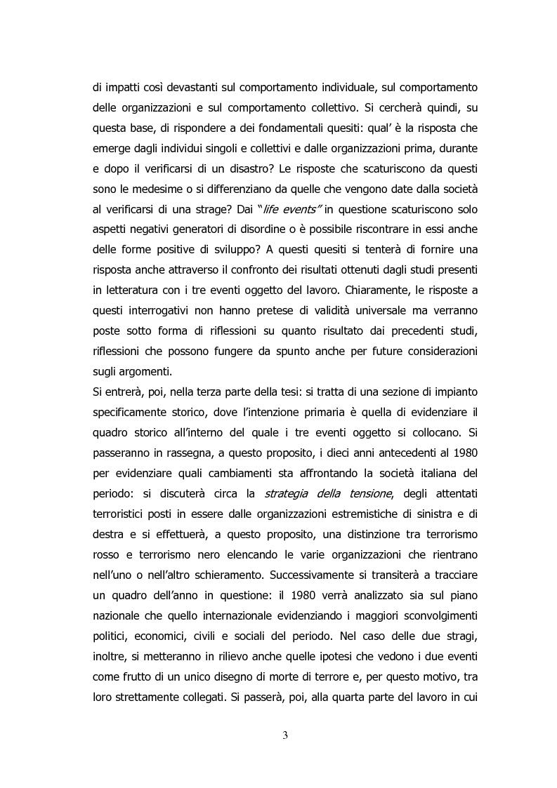 Anteprima della tesi: Analisi storico-sociologica-giornalistica delle stragi e dei disastri (i casi italiani del 1980: Ustica, Bologna, Irpinia), Pagina 3