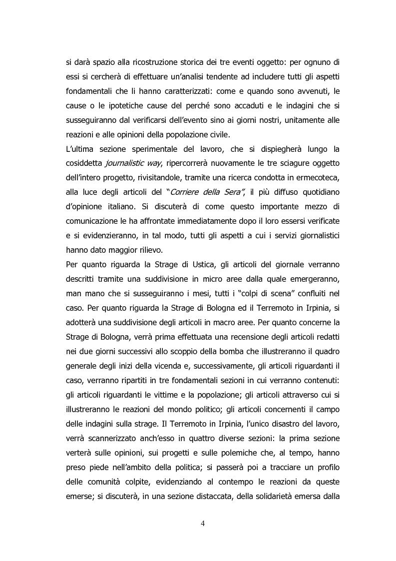 Anteprima della tesi: Analisi storico-sociologica-giornalistica delle stragi e dei disastri (i casi italiani del 1980: Ustica, Bologna, Irpinia), Pagina 4