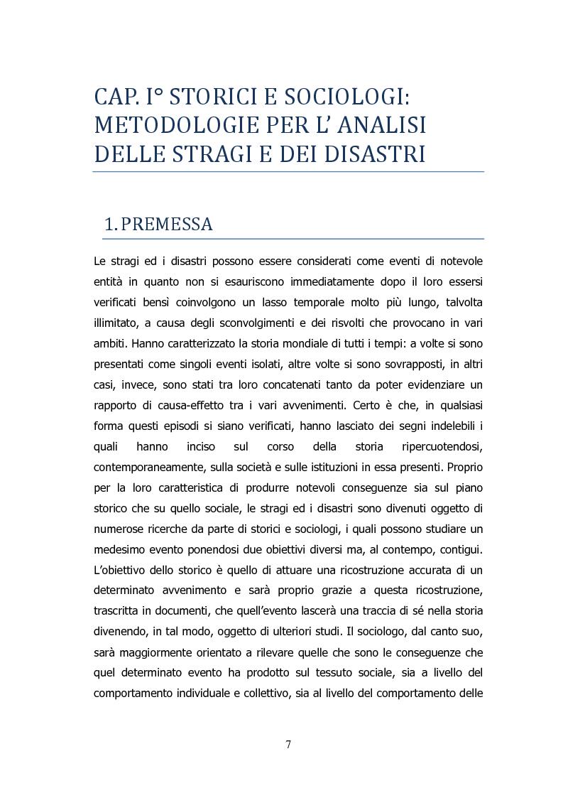 Anteprima della tesi: Analisi storico-sociologica-giornalistica delle stragi e dei disastri (i casi italiani del 1980: Ustica, Bologna, Irpinia), Pagina 7