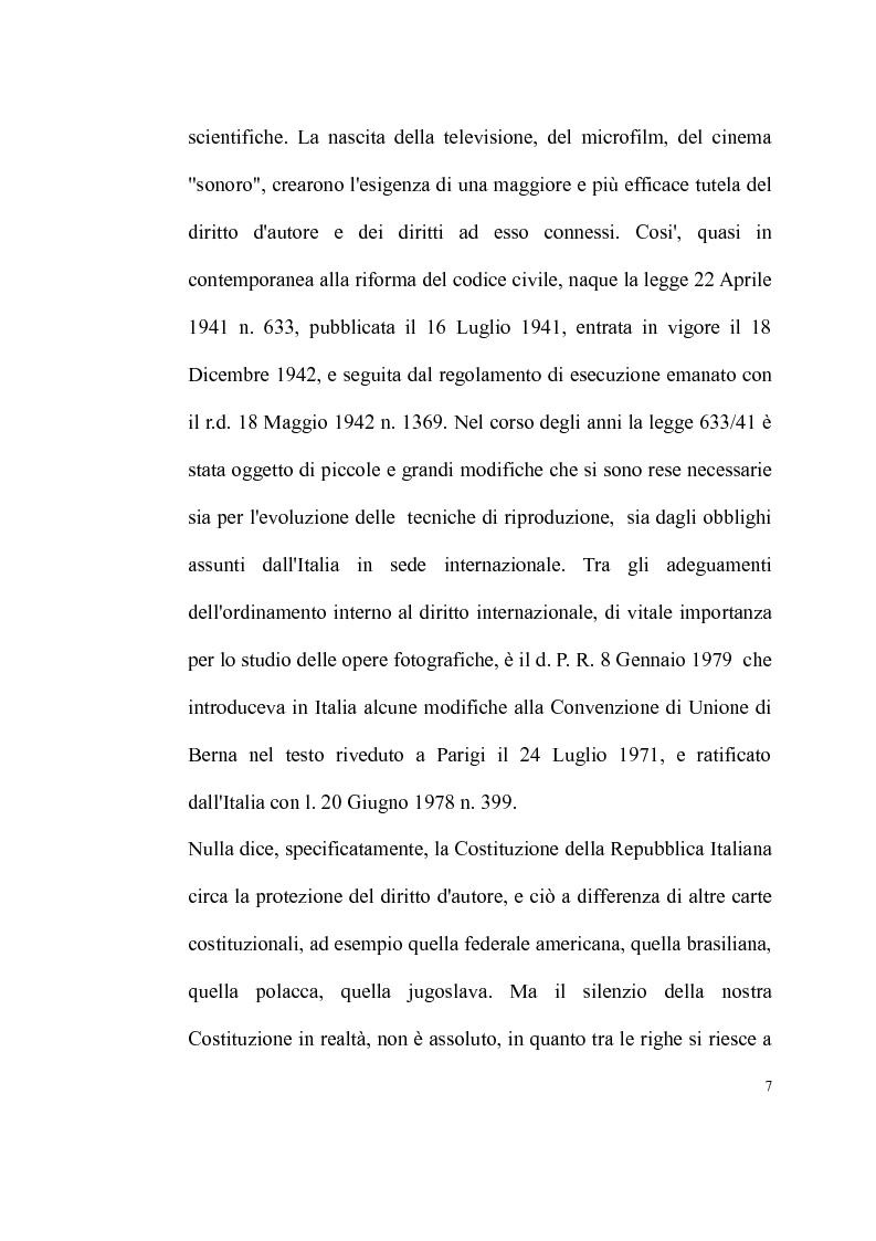 Anteprima della tesi: La tutela delle opere fotografiche, Pagina 6