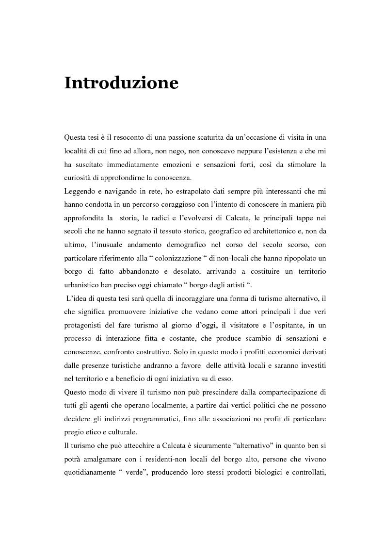 Anteprima della tesi: Turismo alternativo a Calcata, Pagina 1