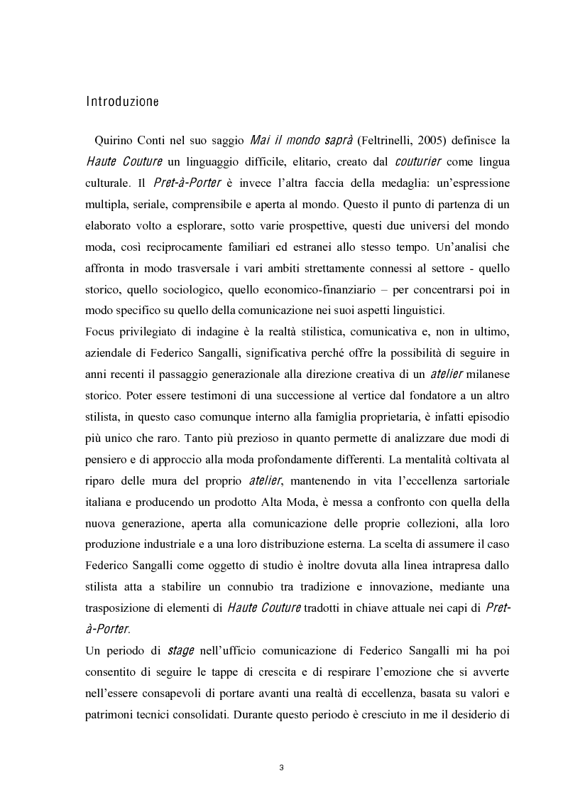 Anteprima della tesi: Linguaggi di sartorialità. La comunicazione di Pret-à-Porter e Haute Couture in Federico Sangalli, Pagina 1