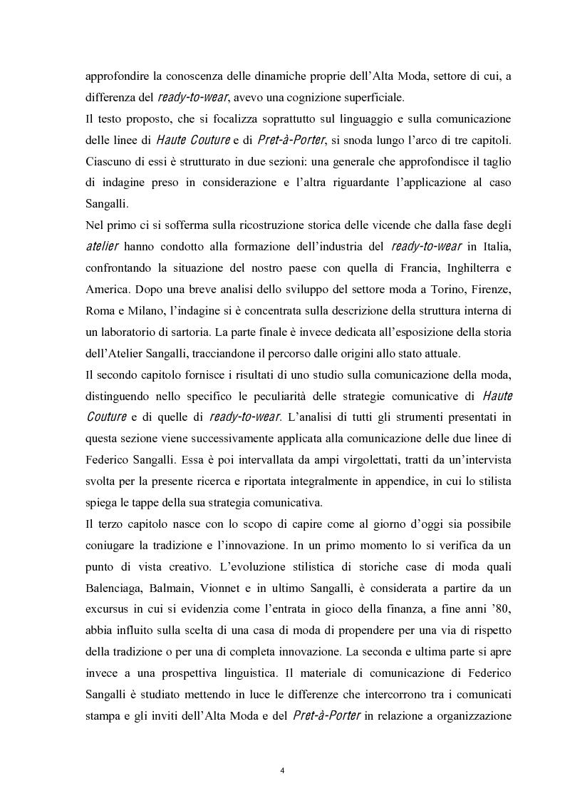 Anteprima della tesi: Linguaggi di sartorialità. La comunicazione di Pret-à-Porter e Haute Couture in Federico Sangalli, Pagina 2