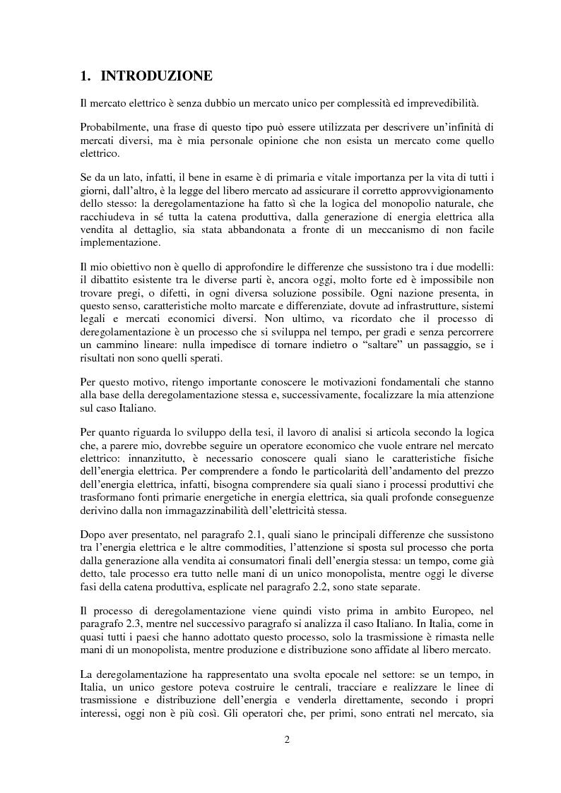 Anteprima della tesi: La gestione del rischio nel mercato elettrico, Pagina 1