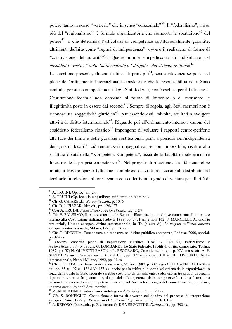 Anteprima della tesi: Regionalismo e federalismo in Italia e in Germania. Due modelli a confronto e profili di cooperazione transfrontaliera., Pagina 5