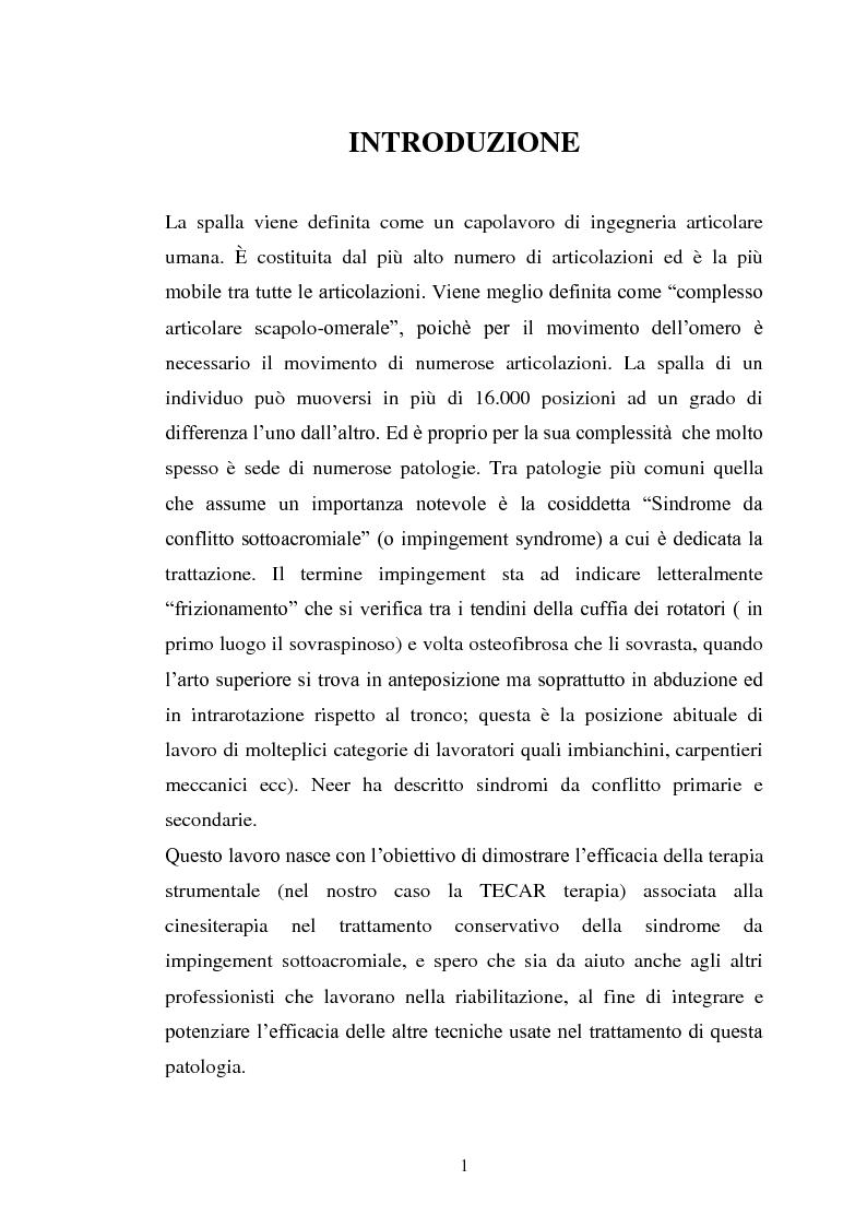 Anteprima della tesi: Trattamento fisico-strumentale e cinesiterapico della sindrome da impingement, Pagina 1