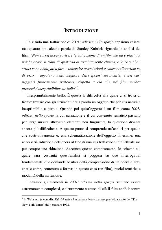 Anteprima della tesi: 2001: odissea nello spazio, analisi del film, Pagina 1