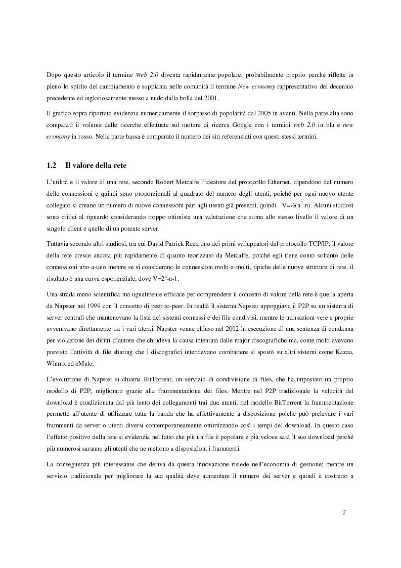 Anteprima della tesi: Web 2.0: caratteristiche e potenzialità, Pagina 2