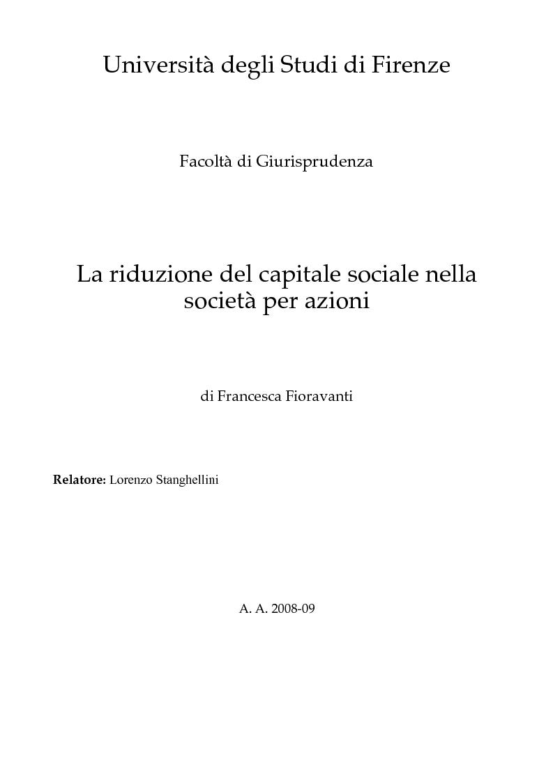 Anteprima della tesi: La riduzione del capitale sociale nella società per azioni , Pagina 1