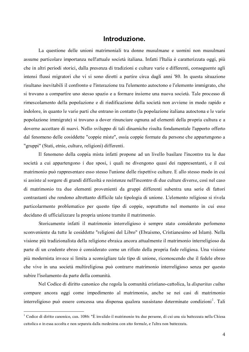 Anteprima della tesi: La questione delle unioni matrimoniali tra donne musulmane e uomini non musulmani in Italia, Pagina 3