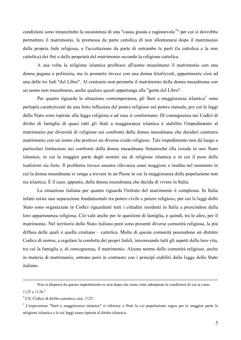 Anteprima della tesi: La questione delle unioni matrimoniali tra donne musulmane e uomini non musulmani in Italia, Pagina 4