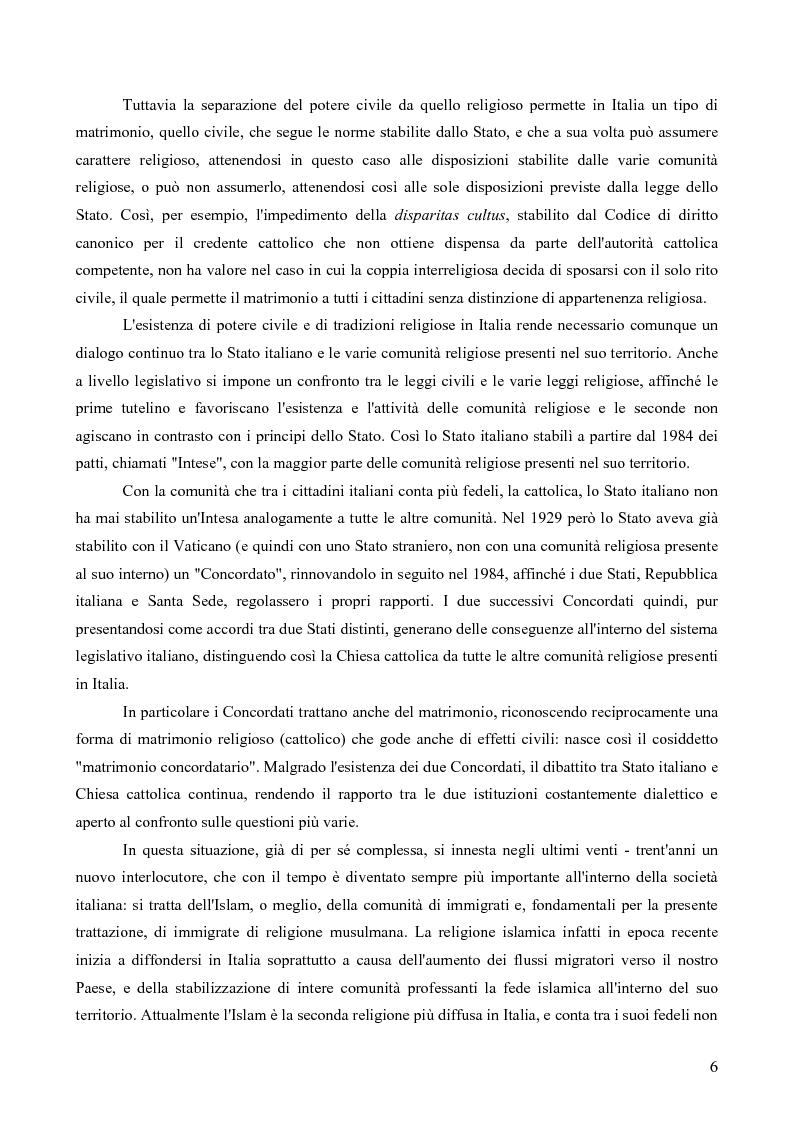 Anteprima della tesi: La questione delle unioni matrimoniali tra donne musulmane e uomini non musulmani in Italia, Pagina 5