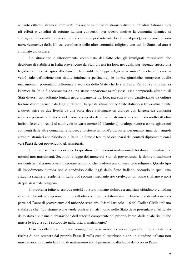 Anteprima della tesi: La questione delle unioni matrimoniali tra donne musulmane e uomini non musulmani in Italia, Pagina 6