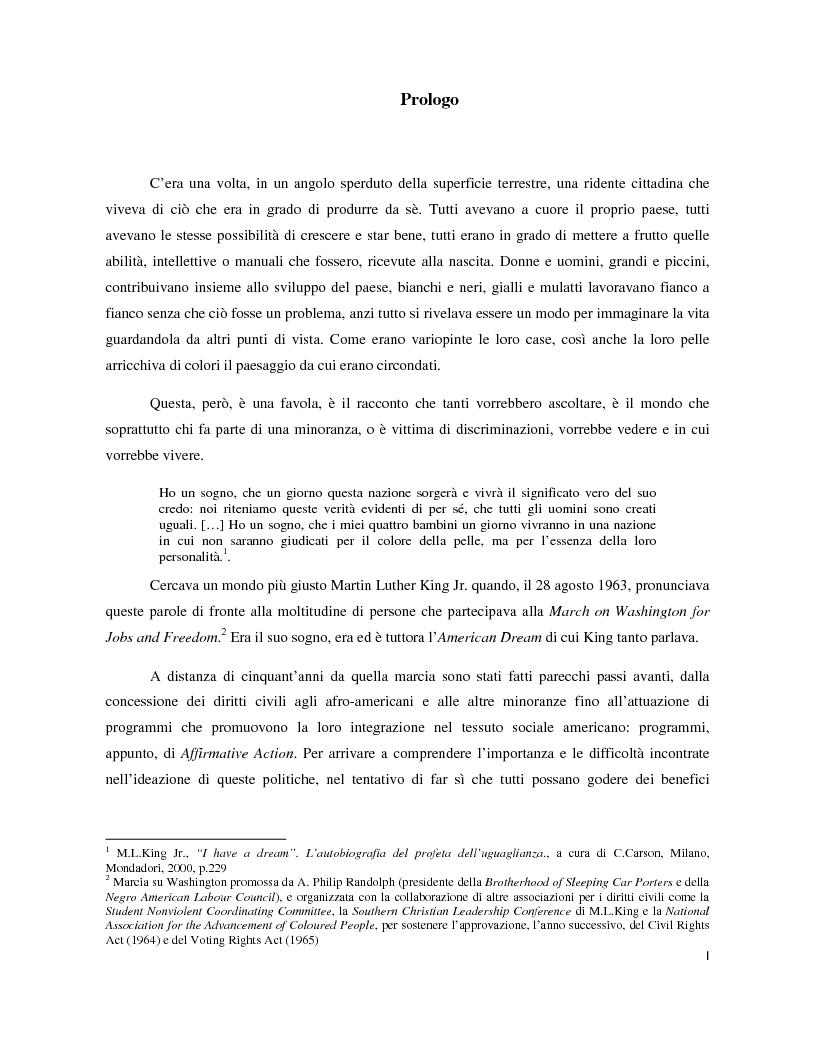 Anteprima della tesi: Un'esperienza di integrazione: Affirmative Action negli Stati Uniti d'America, Pagina 1