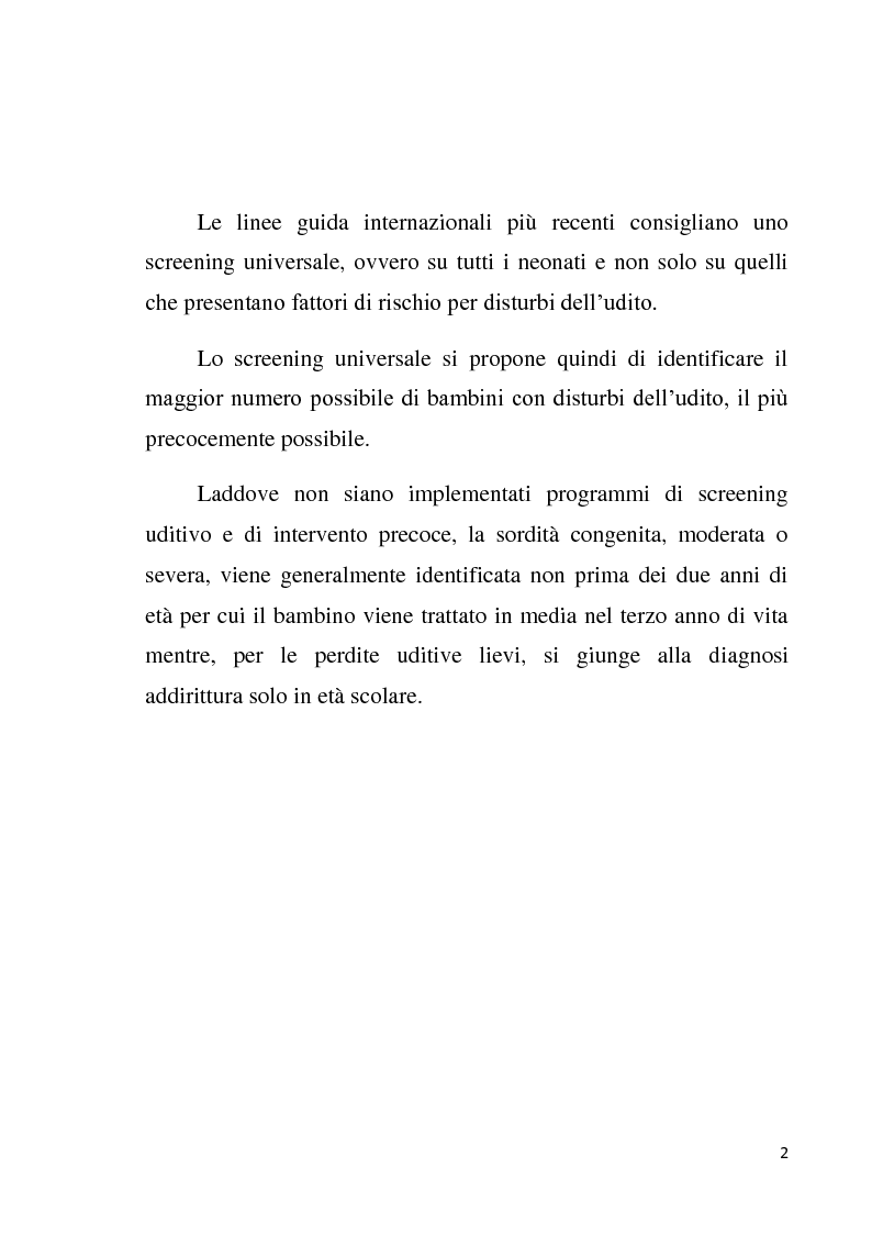 Anteprima della tesi: Le AABR e le OAE nello screening uditivo neonatale, Pagina 2