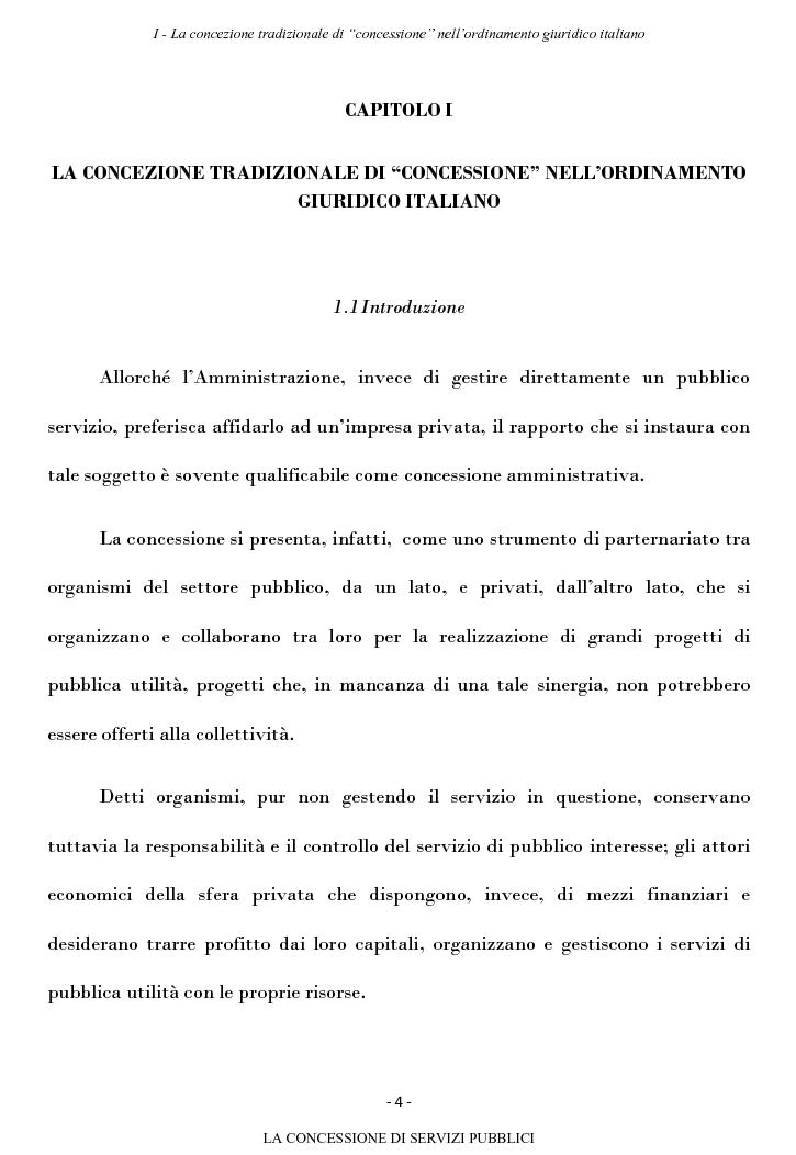 Anteprima della tesi: La concessione di servizi pubblici, Pagina 1