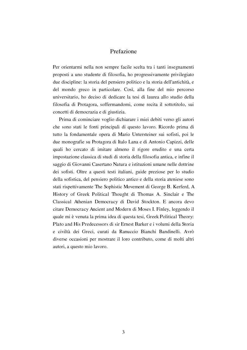 Anteprima della tesi: Il filosofo della polis. Democrazia e giustizia nel pensiero di Protagora., Pagina 1