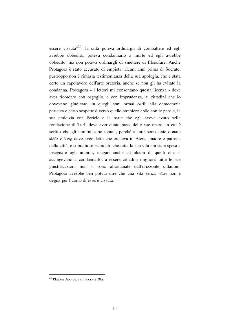 Anteprima della tesi: Il filosofo della polis. Democrazia e giustizia nel pensiero di Protagora., Pagina 9