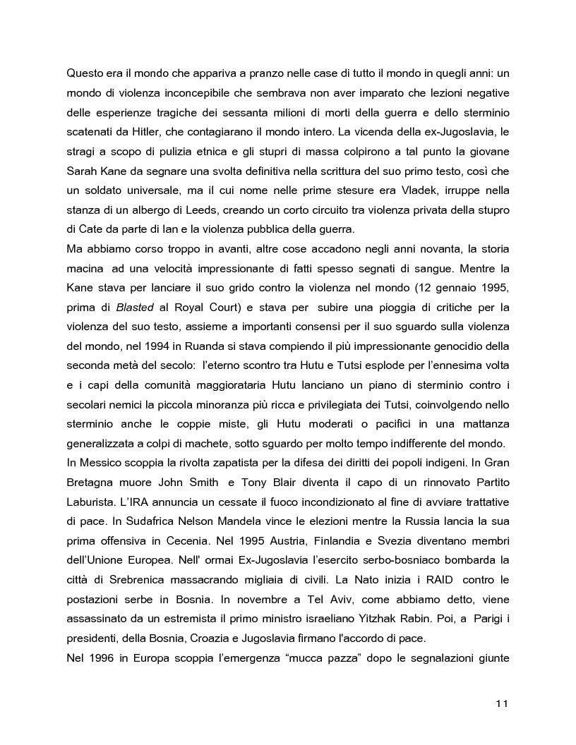 Anteprima della tesi: Il rovescio della mia mente. Viaggio in cinque stanze del male di vivere di Sarah Kane, una giovane donna di fine secolo., Pagina 11