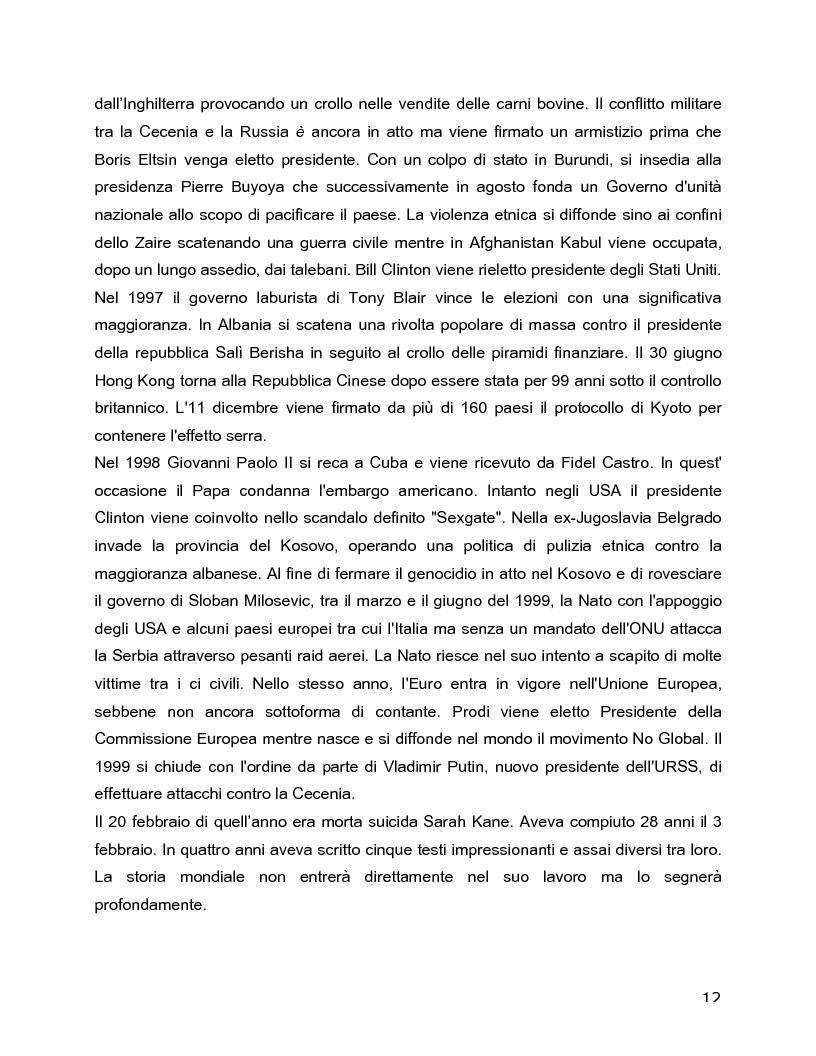 Anteprima della tesi: Il rovescio della mia mente. Viaggio in cinque stanze del male di vivere di Sarah Kane, una giovane donna di fine secolo., Pagina 12