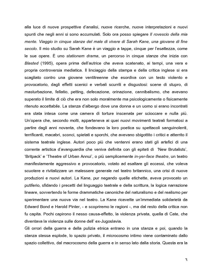 Anteprima della tesi: Il rovescio della mia mente. Viaggio in cinque stanze del male di vivere di Sarah Kane, una giovane donna di fine secolo., Pagina 3