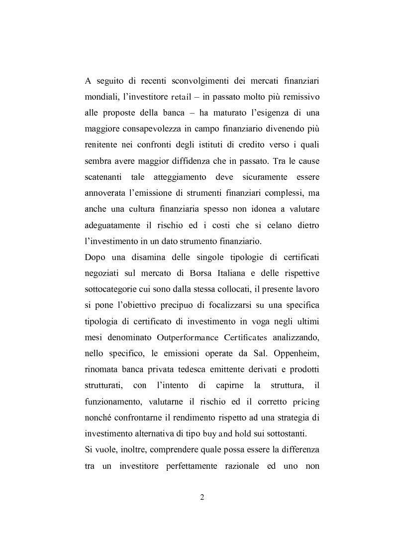 Anteprima della tesi: I derivati per la clientela retail: gli Outperformance Certificates di Sal. Oppenheim, Pagina 2